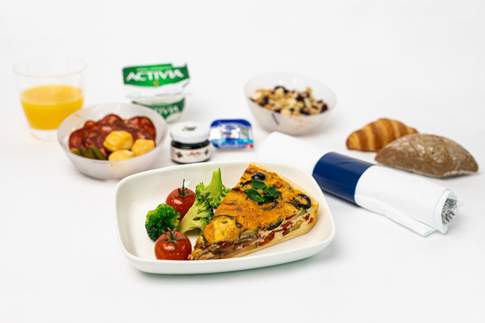 Gourmet Menu - Hot Quiche Snack served aboard Czech Airlines flights